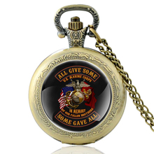 High Quality Vintage All Give Some  Marine Glass Dome Quartz Pocket Watch Men Women Military Necklace Pendant Gifts