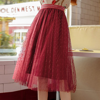 Autumn&winter Bright Silk Pleated Skirt Women's Elastic Belt All Kinds of Age Reducing Mesh Half Skirt Splicing Bright Skirt