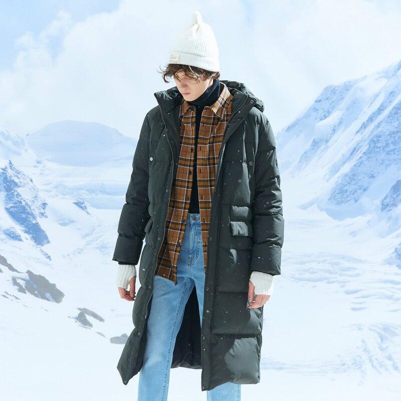 Metersbonwe 2019 longue vers le bas vestes d'hiver affaires longue épaisse hiver vers le bas manteau hommes solide mode pardessus vêtements d'extérieur chaud - 5