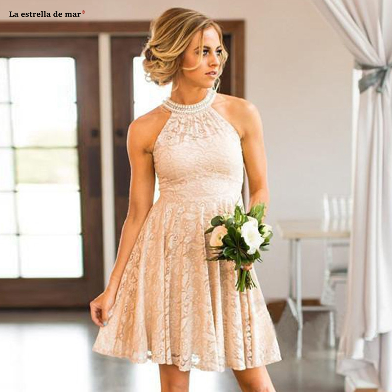 Vestidos fiesta boda new lace pearl high neck Aline champagne   bridesmaid     dress   short wedding guest Gown custom robe mademoiselle