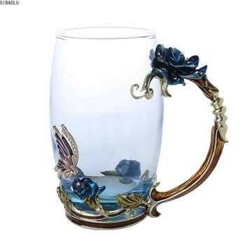 Taza para té y café esmaltada taza de cristal 3D mariposa Rosa regalo de boda DTT88