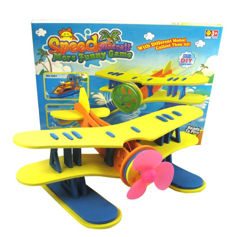 Kuulee Toys Electric Air Powered Seaplane Modeling DIY Assemble Puzzle Toys Random Color Simulate Airplane