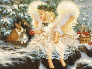 Anjo menina e coelho costura ponto cruz define 14ct sem impressão bordado kits artes cruz-costura, diy artesanal decoração de casa