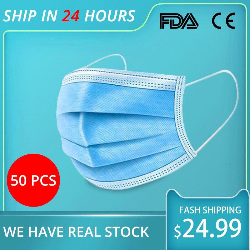 Disposable Masks Earloop Face Mouth Masks Antibacterial Facial Safety Mask Protective 3 Layers Dropshipping 50/100 Pcs CE FDA