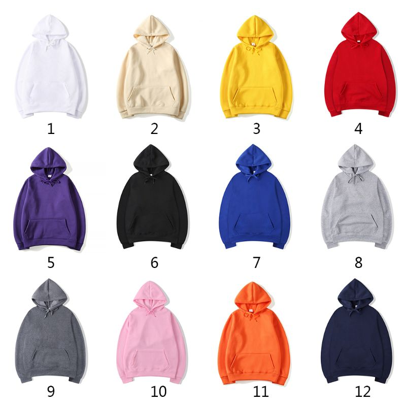 Men Women Couples Hoodies Drawstring Brushed Lining Pullover Tops Solid Color Hip Hop Casual Loose Sweatshirt With Pocket S-3XL