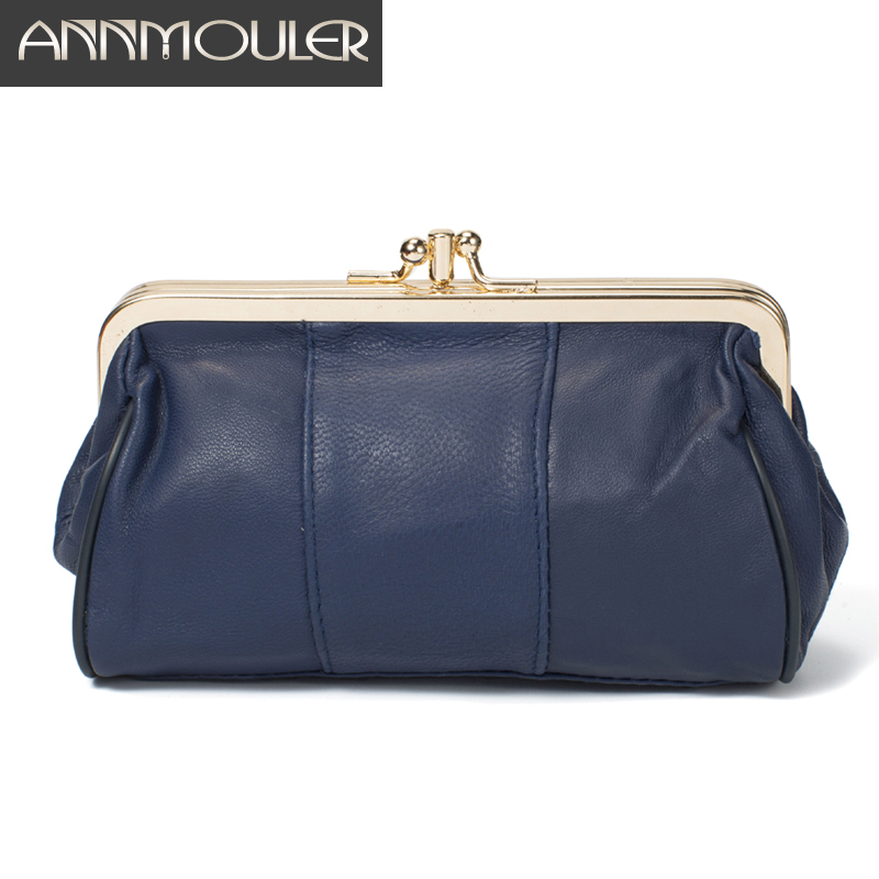 Annmouler Women Purse Genuine Leather Coin Purse Kiss Lock Sheepskin Change Purse Solid Color Card Holders Ladies Leather Wallet
