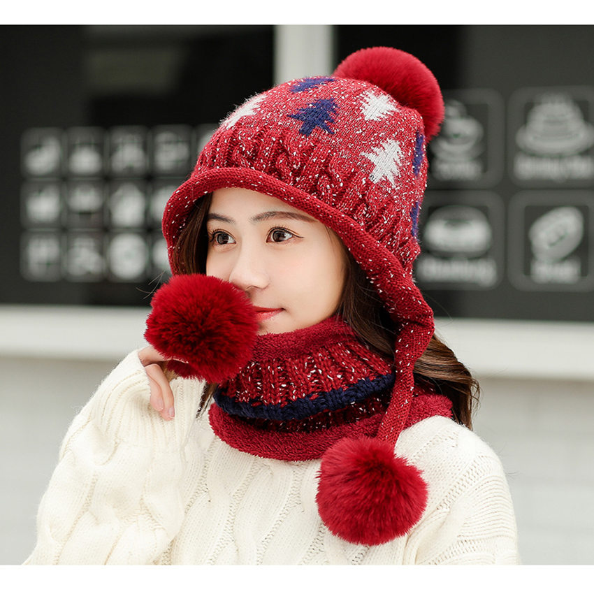 Wjustforu Wool Knitted Winter Hats For Women's Hat Scarf Glove Set 3 Piece Sets Fashion Pom Pom Cap Gorros Bonnet Beanie Skullie