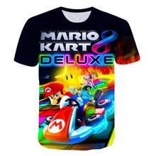 Boys Mario Cartoon T-shirts Children Clothes 3D Printing Girls Fashion O-Neck Brand Clothing Kids Short Sleeves Tops Tees 4T-14T