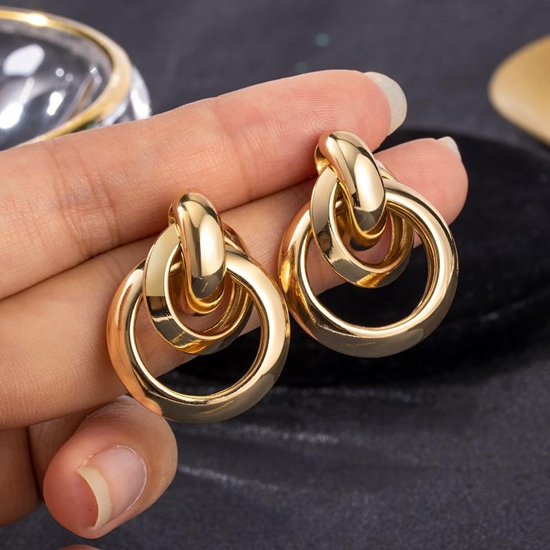 Women's Earrings Gold Unusual hoop Earrings for women Korean Vintage Geometry Metal Earrings 2021 Trendy Fashion Female Jewelry