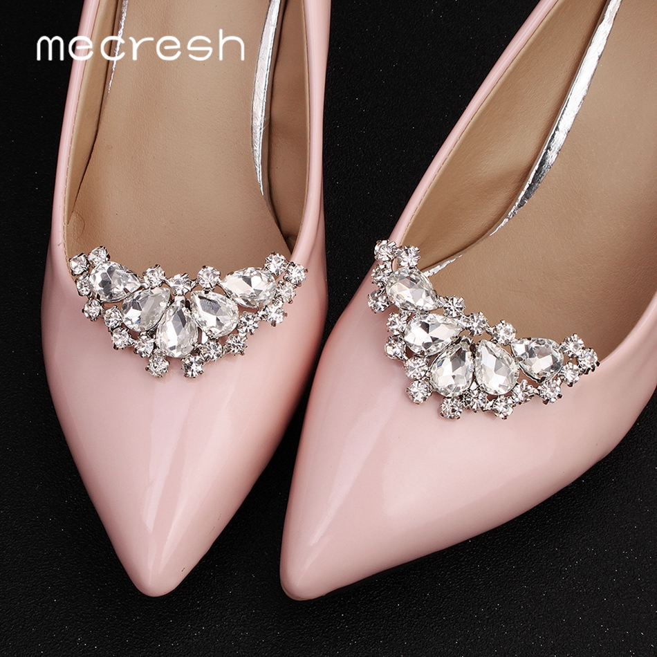 Mecresh Moon Shape Crystal Bridal Shoes Buckle Silver Color Geometric Wedding High Heels Clips Women Accessories 2pcs/lot MXK013
