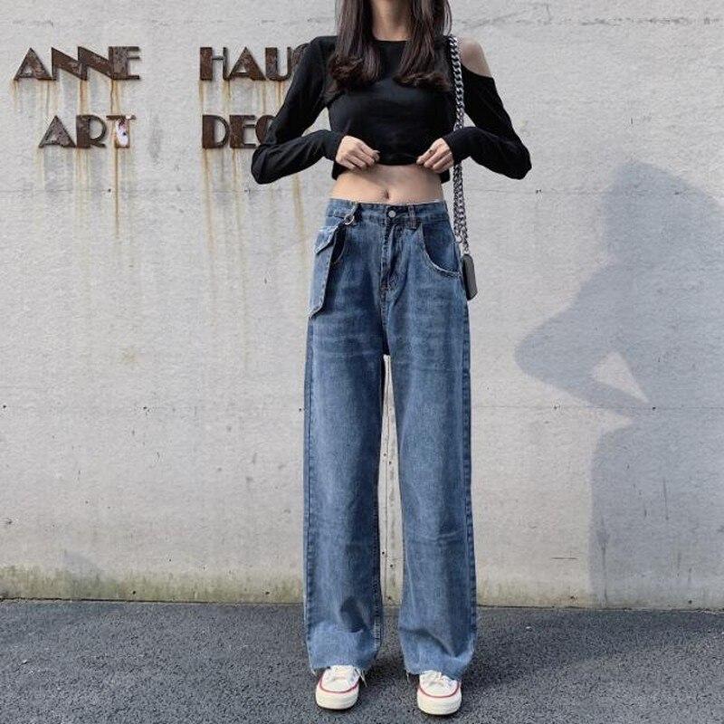 Pantalones Vaqueros Holgados De Cintura Alta Para Mujer Ropa De Calle Hipster Pantalones Rectos Con Bolsillos Grandes Ropa De Mujer Otono Pantalones Vaqueros Aliexpress