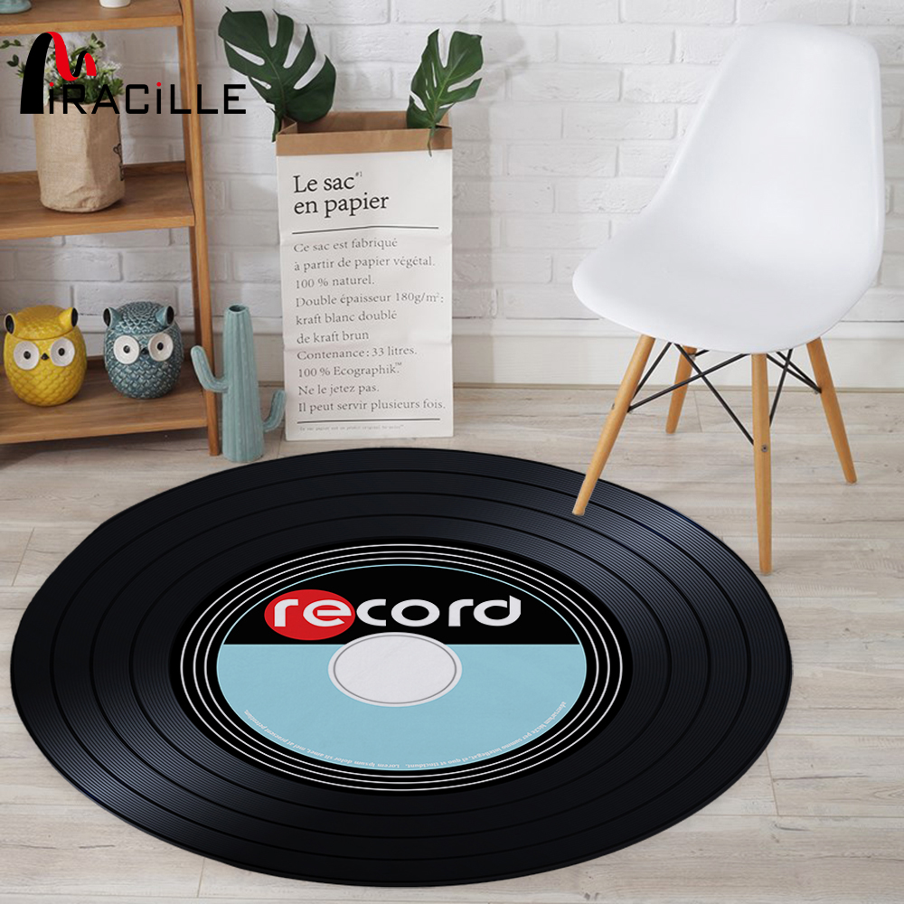 Miracille Music CD Modern Round Carpet Home Decorative Printed Round Area Rugs Parlor Bedroom Floor Mat Anti-slip