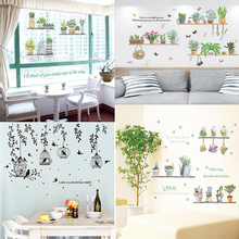 Garden Potted Plants Cactus Aloe Wall Stickers Home Decor Living Room Black Bird Cage Leaves Diy Mural Art Poster