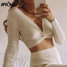 Knitted T-Shirt Streetwear-Crop-Top Aproms V-Neck Ribbed Criss Elegant Women Cross-Strench