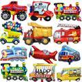 Мультфильм автомобильные воздушные шары для малышей с изображением пожарной машины вагон шарик из фольги в форме самолета скорой помощи ...