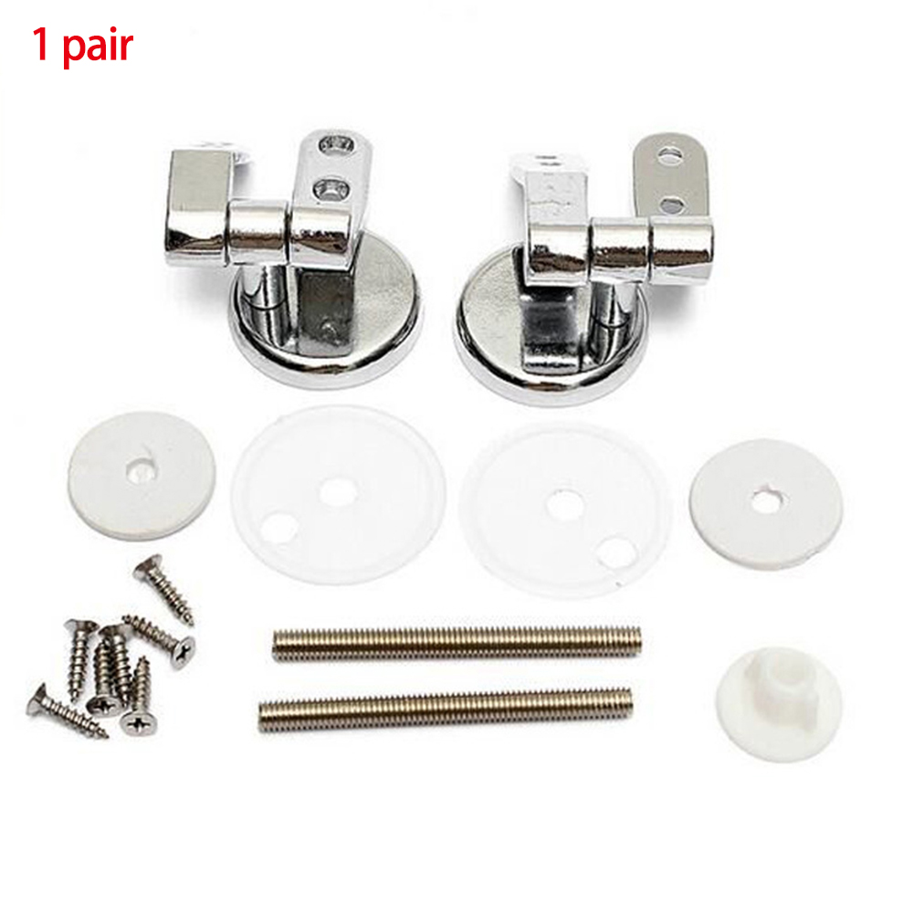 Seat Replacement Mountings Top Durable Fittings Silver Zinc Alloy Rustproof Easy Install Bathroom Universal Toilet Hinges