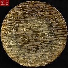 13 дюймов полосатый круглой формы подставочная тарелка в золотой