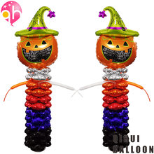 Halloween Festival Decorations Large Size Pumpkin Head Balloon Stand Column Scene Decoration Atmosphere Foil Balloon(China)