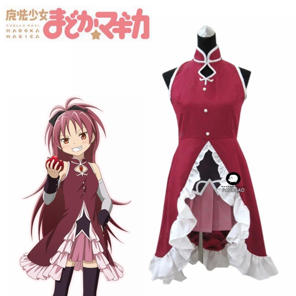 Puella Magi Madoka Magica Kyoko Sakura Red Anime Adult Cosplay Wig+Wig Cap