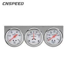 CNSPEED Auto de presión de aceite de la temperatura del agua Medidor de amperios con Sensor de Triple calibre juego mecánico cromo Panel de prensa de aceite de YC101323