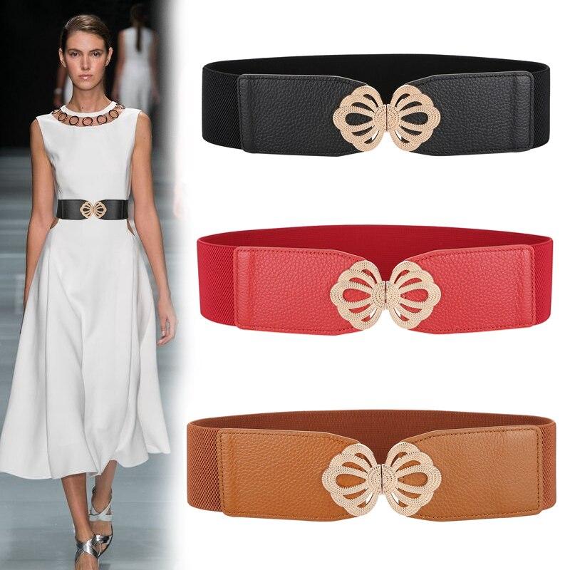 New Fashion Lady's Wide Elastic Belt Genuine Leather Gold Metal Buckle Waistband Stretch Cummerbunds Women Wide Waistbands Dress