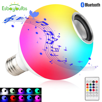 цена на Blub Smart E27 RGB White Bluetooth Speaker LED Bulb Light Music Playing Dimmable Wireless Led Lamp with 24 Keys Remote Control