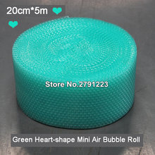 Mini rollo de burbujas de aire en forma de corazón verde, embalaje de espuma, decoración de boda, urdimbre, 20cm x 5m