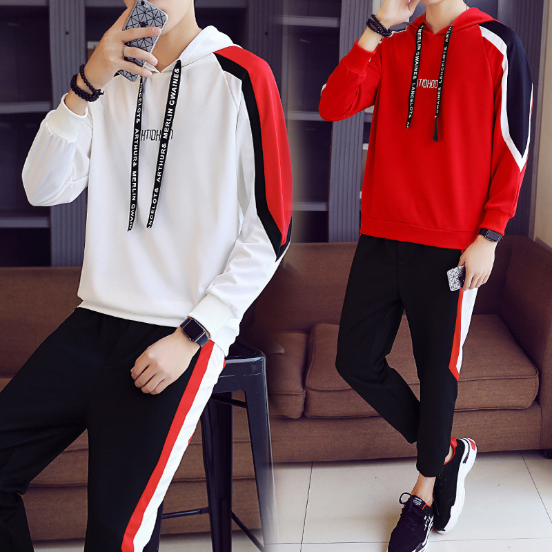 MEN'S Sport Suit Long Sleeve Pullover Hoody Men's Hooded Korean-style Am Exchanging Hooded Two-Piece Autumn A Set Of Clothes