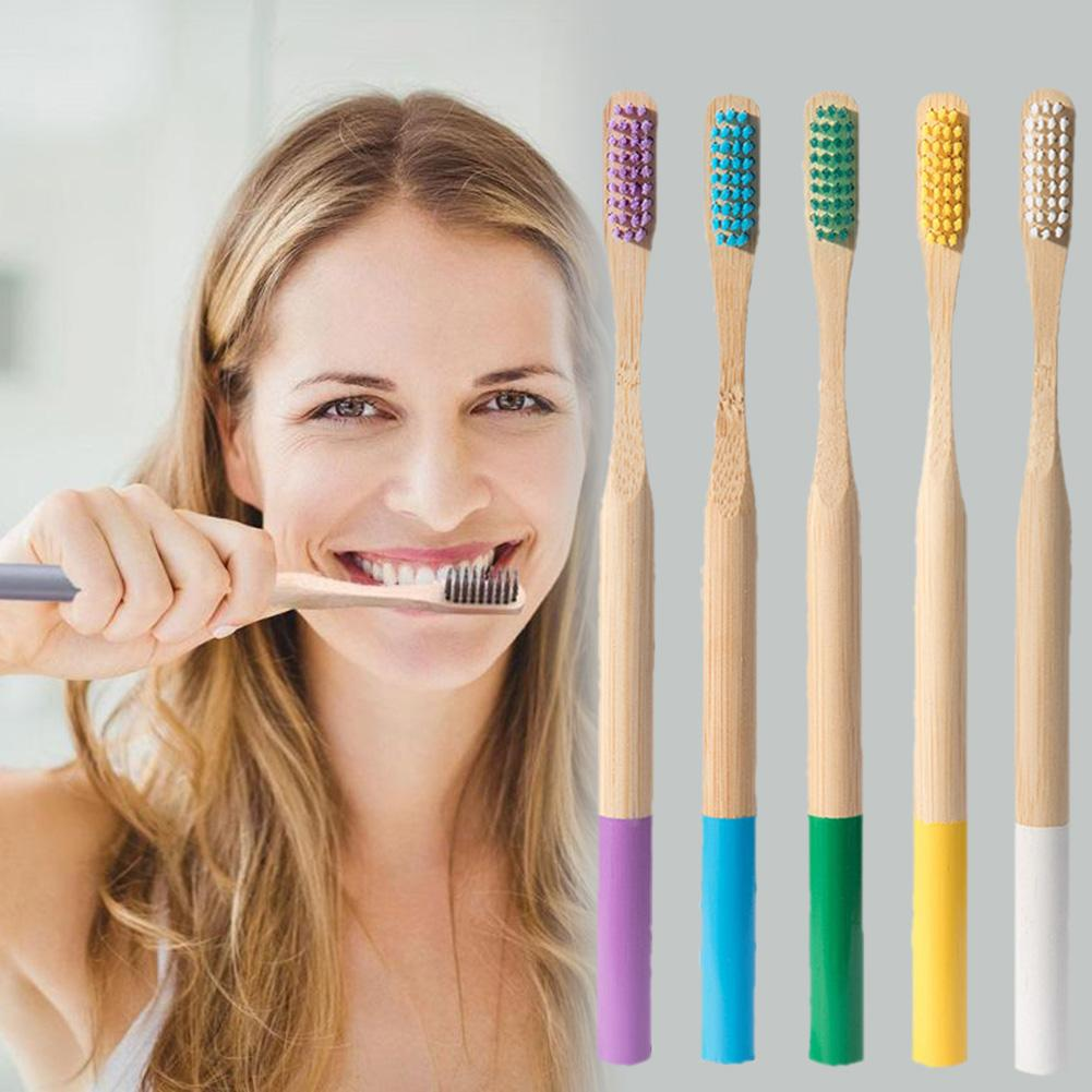 Natural Bamboo Charcoal Toothbrush For Oral Health Low Carbon Soft Spiral Nylon Bristles, Best Recyclable Travel Wood Toothbru image