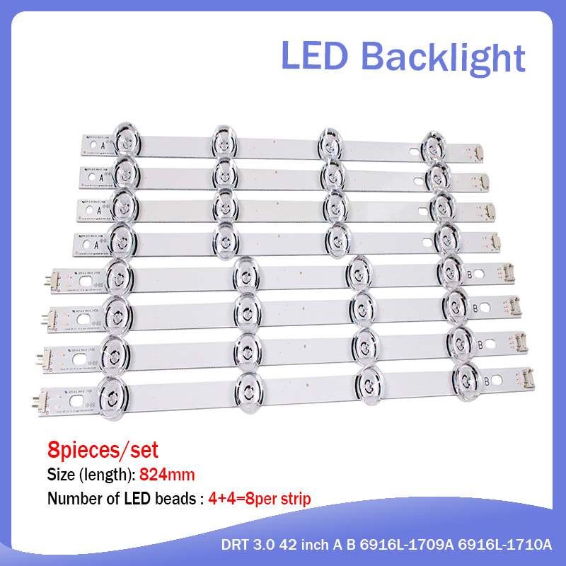 825mm LED Backlight Lamp Strip 8 Leds For LG 42LY320C LC420DUE INNOTEK DRT 3.0 42 Inch TV 42LB5610 42GB6310 42LB6500 42LB552V
