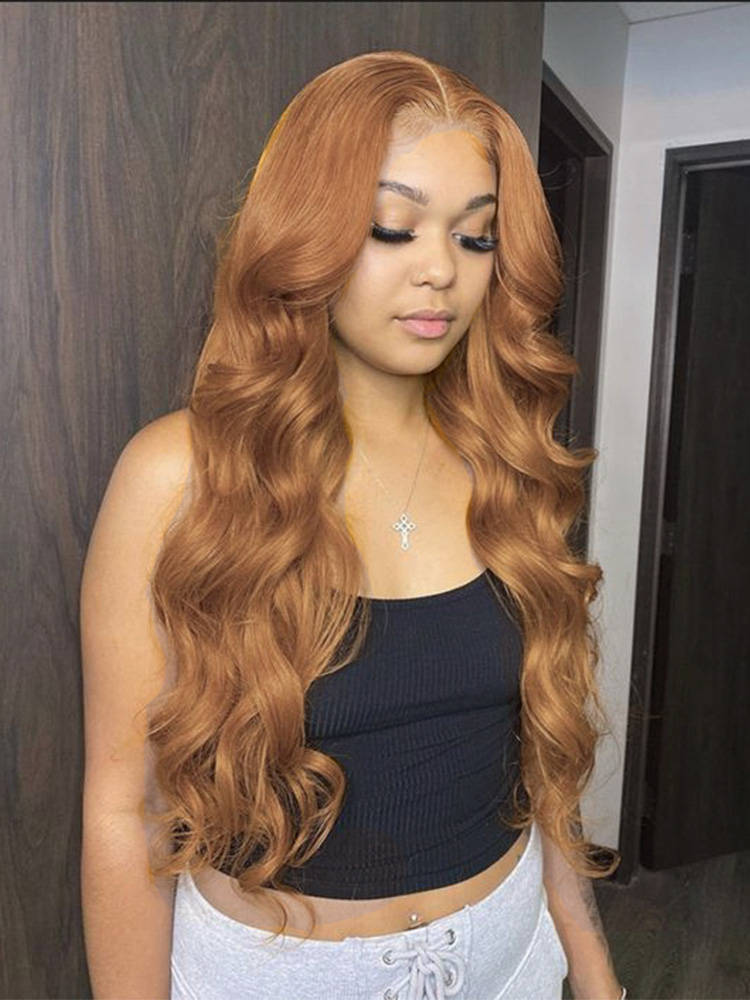Lace Wigs Highlight Lace-Front-Wigs Blonde Ginger Orange-Part Human-Hair Body-Wave Transparent
