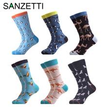 SANZETTI, 6 пара/лот, мужские, повседневные, Приятный хлопок, носки, свадебные, счастливые носки, забавные, хип-хоп, новинка, яркие носки