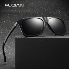 FUQIAN Brand Classic Square Polarized Men Sunglasses Fashion TR90 Temple Unisex Glasses Black Shades Eyewear UV400