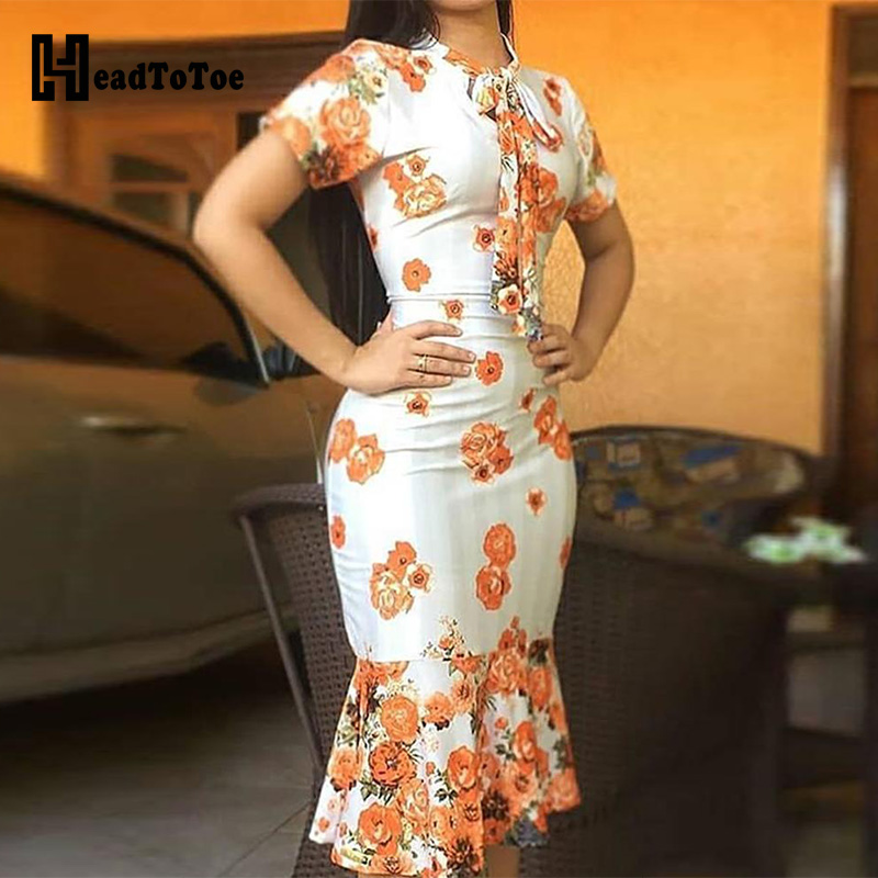 Floral Print Tied Neck Fishtail Bodycon Dress Office Ladies Casual Dress Workwear Women Short Sleeve Mid-calf Dress