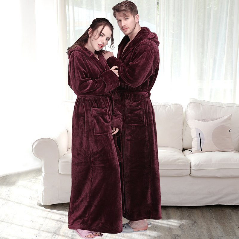 Women Winter Plus Size Long Warm Flannel Kimono Hooded Bathrobe Bridesmaid Coral Fleece Bath Robe Dressing Gown Men Sleepwear