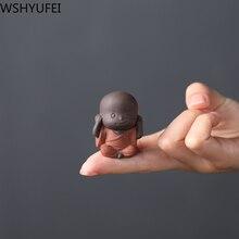 Pet-Ornaments Statue Ceremony-Decoration-Accessories Tea-Figurine Monk Purple Clay Buddha