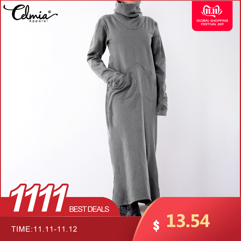 Vintage Casual Long Sleeve Pullover Maxi Dress Celmia 2019 Winter Women Warm Turtleneck Loose Pockets Solid Plus Size Robe