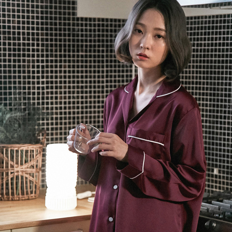 Luxury 2 Piece Silk Pajamas Wine Red Cozy Soft Long Pants Shirt Set Sleepwear Long Sleeve Pyjamas Women Winter Homewear Suit New