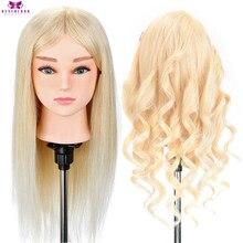 Cabeleireiro manequim cabeça 100% real cabelo humano para penteados cabeleireiro curling prática formação cabeça com suporte