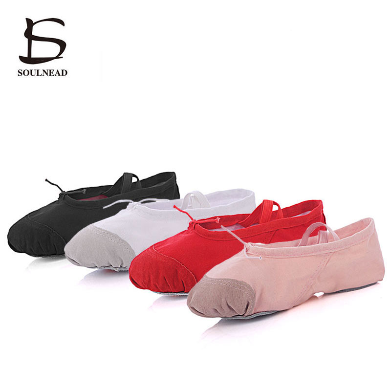 Hot Ballet Shoes For Girls Women Canvas Leather Head Ladies Salsa Dance Shoes Ballet Shoes For Women Flats Red Black 24-45 Size