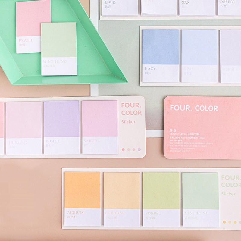 Quatro cores/conjunto kawaii memo pads para estudantes diário criativo derocation mensagem papel bonito post it pegajoso notas papelaria novo
