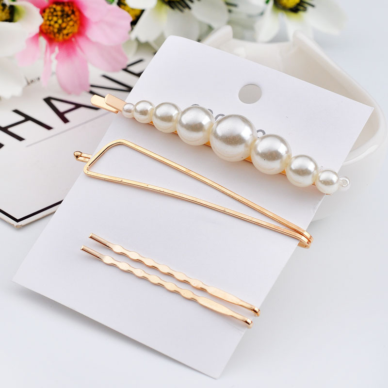 3/4PCS Pearl Metal Hair clip simple Bobby Pin Barrette Hairpin Headdress Beauty Styling Tools sets Headwear Hair Accessories