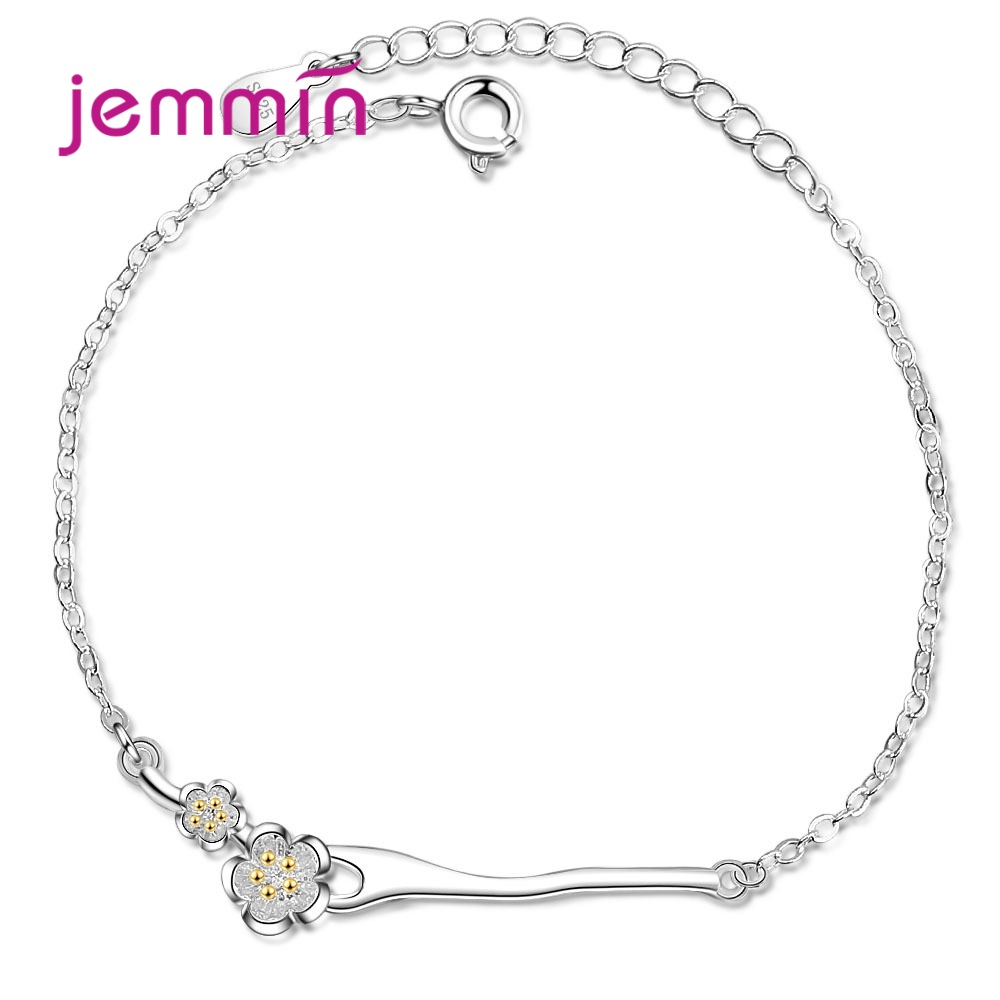 Cute Bracelets For Women Girls 925 Sterling Silver Pretty Sakura Flower Bangle Simple Metal Without Stone Jewellry New Fashion