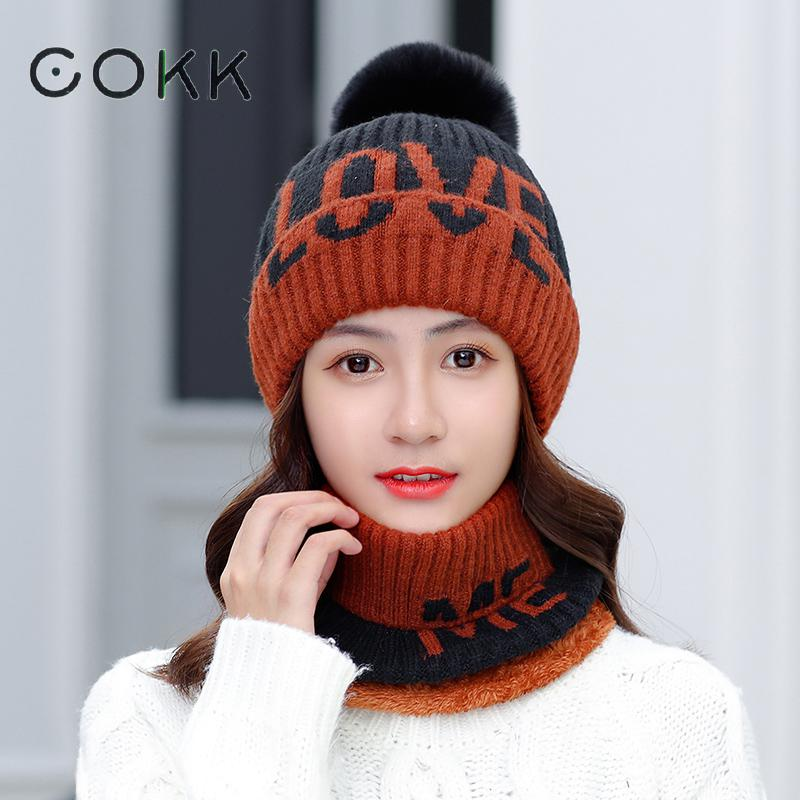 COKK Knitted Hat With Scarf Women Winter Velvet Thickening Set Ladies Hat And Scarf Windproof Collars Sets For Women Beanie New