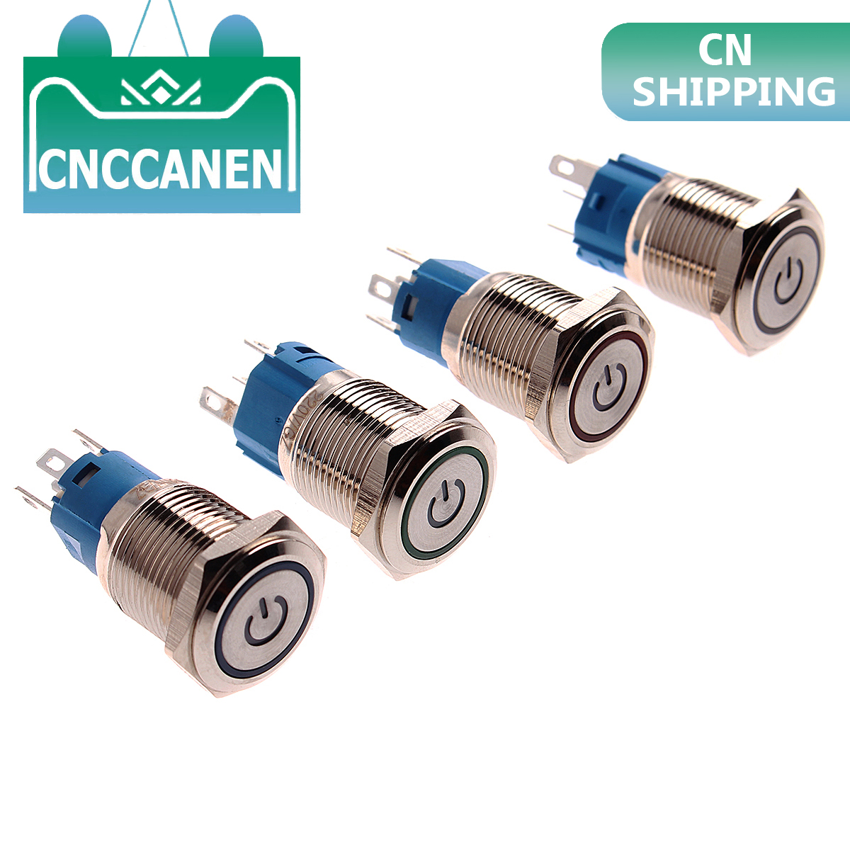 CNCCANEN 12mm Momentary Push Button Switch 1NO1NC ON//Off Metal Shell with White LED Ring 4 Pin for Car RV Truck Boat Size 3V Latching Blue