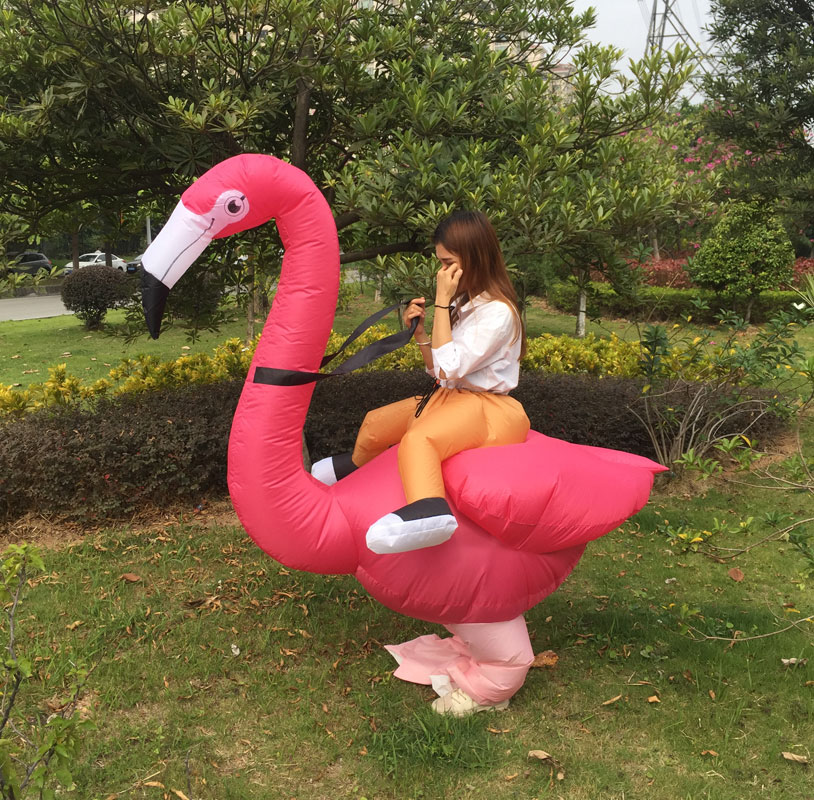 Flamingo Inflatable Costume Halloween Purim Costume For Adult Men Women Unisex Dress Inflatable Costume Party Carnival Polyester