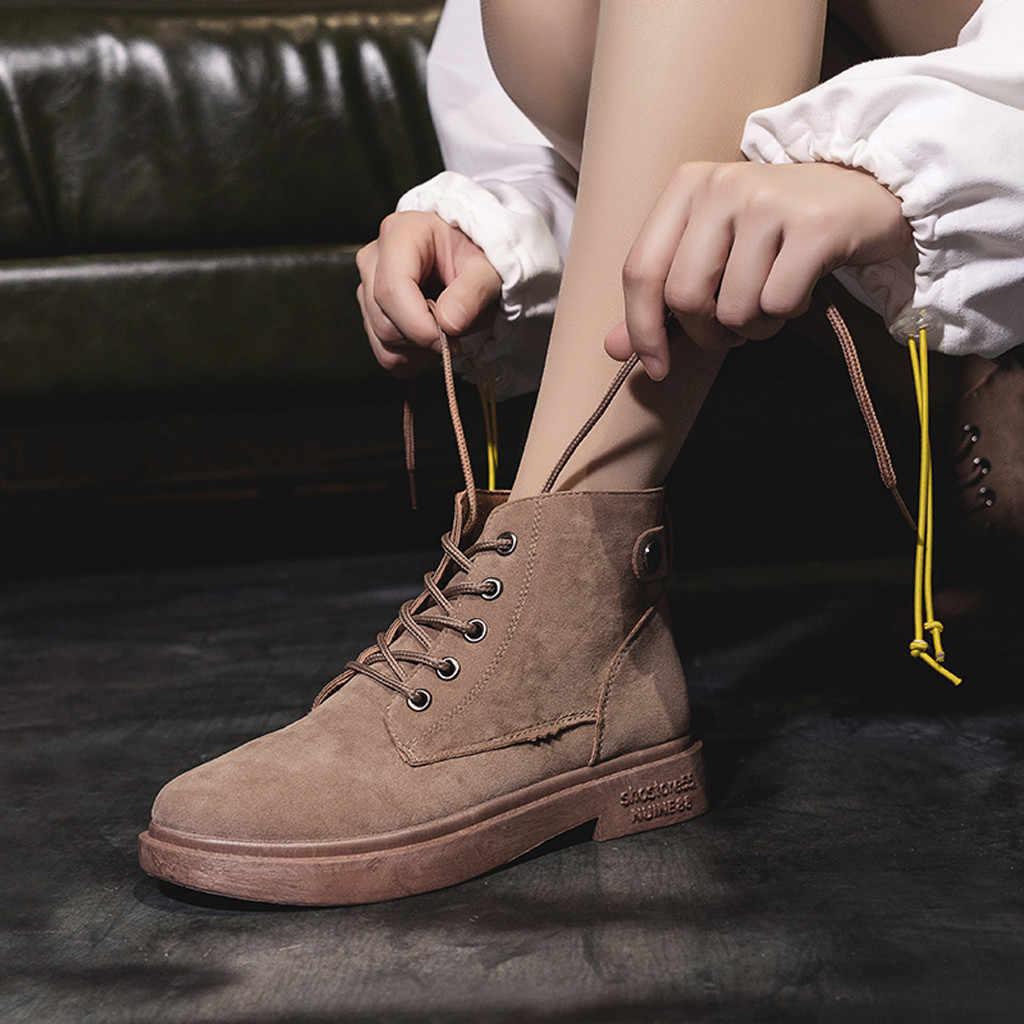 Kadın süet Martin çizmeler bayanlar moda yuvarlak ayak rahat dantel Up tek ayakkabı kadın öğrenci dantel-up düz yuvarlak kafa kısa çizme