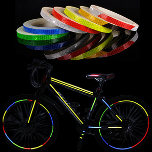 Bicycle Accessories Bike Reflective Stickers Strip MTB Bicycle Wheel Sticker Fluorescent Tape Reflector Sticker Cycling Decor(China)