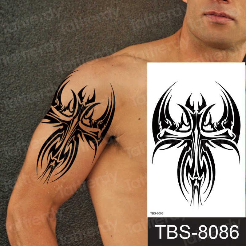 Men Shoulder Tattoos Black Henna Machine Tribal Mens Chest Tattoos Sexy Tattoo Temporary Arm Sleeve Waterproof Fake Water Tattoo Aliexpress