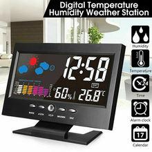 Умные цифровые часы метеостанция с дисплеем будильник календарь